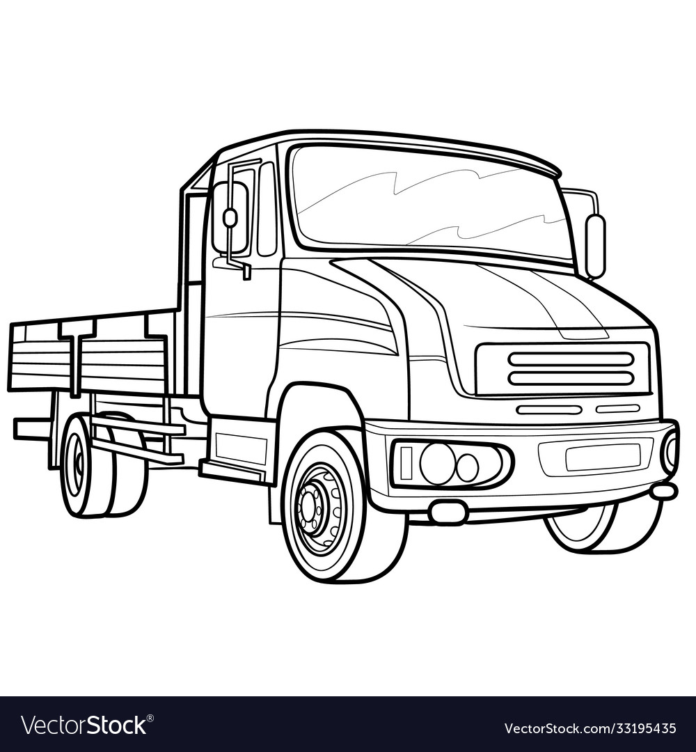 Truck sketch coloring book isolated object on