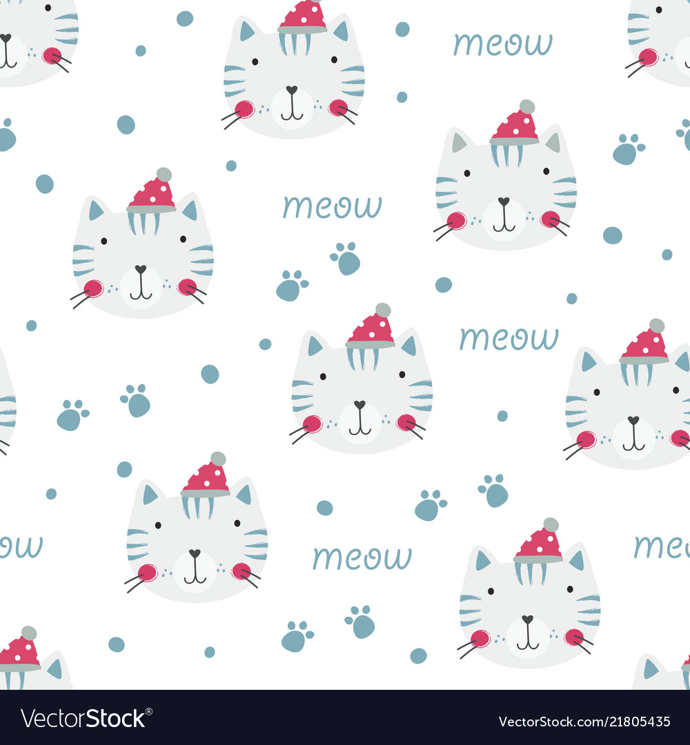 Winter seamless pattern with cute cats
