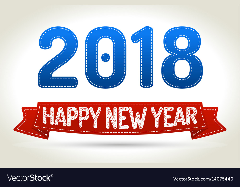2018 - happy new year- red ribbon with shadow on