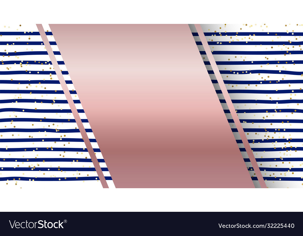 Abstract blue stripes pattern and gold glitter