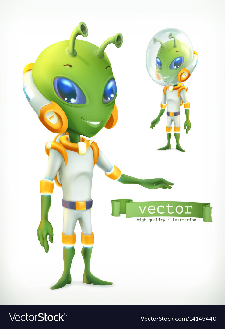 Alien in spacesuit funny character icon 3d