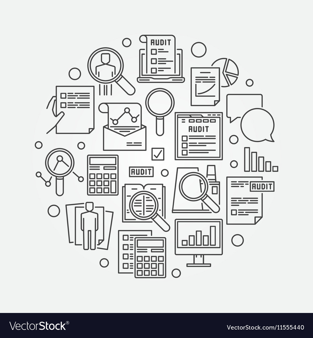 Audit circular linear vector image