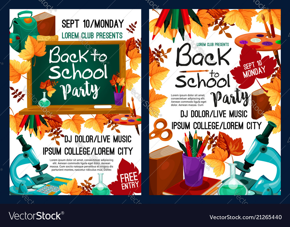 Back to school party poster with autumn leaf