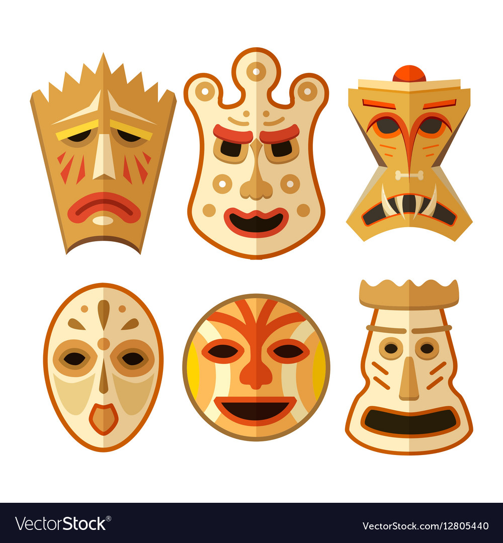 Collection of different wooden voodoo masks