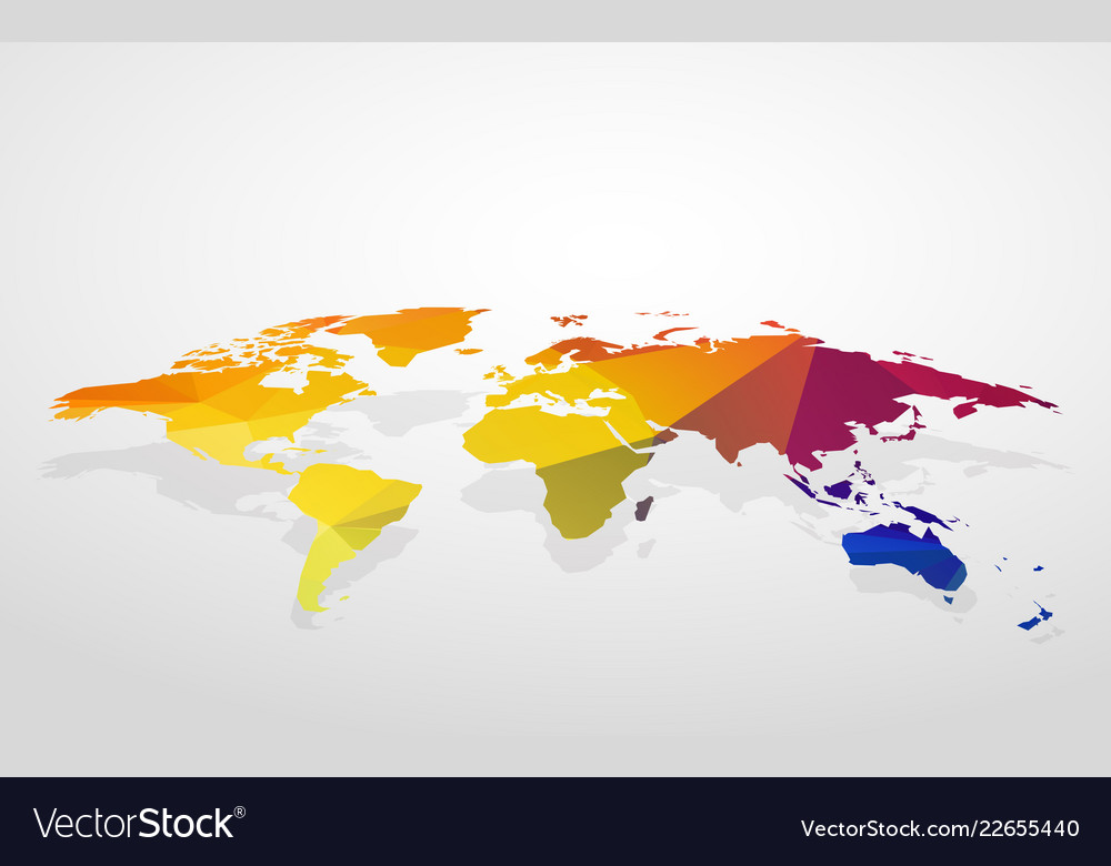 Blank Color World Map.Color Blank World Map Fake 3d Royalty Free Vector Image