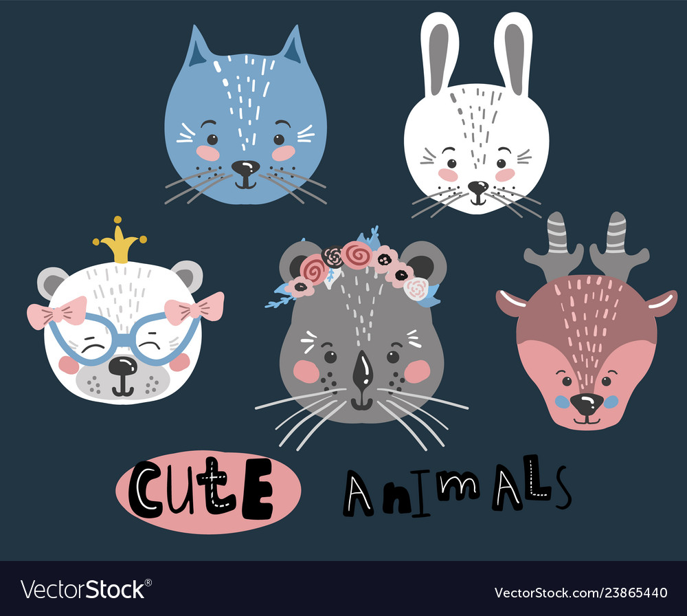 Cute cartoon little animals childish print