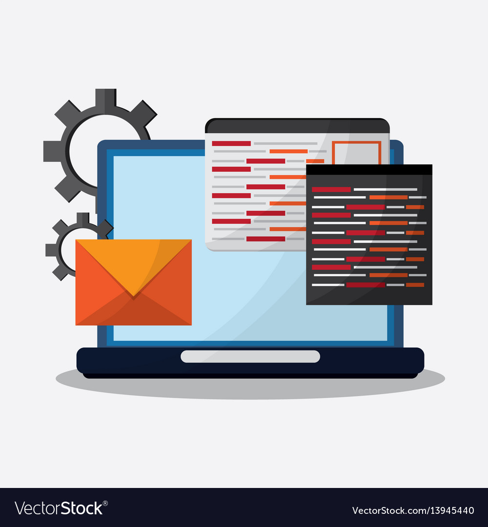 Digital message related icons image vector image
