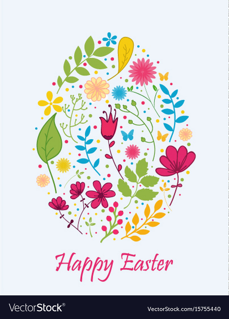 Easter egg with flower concept vector image