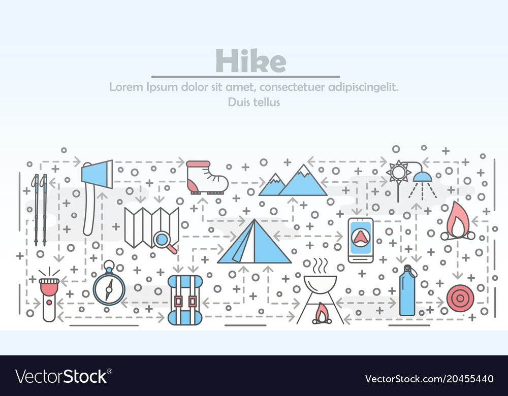 Hike advertising flat line art