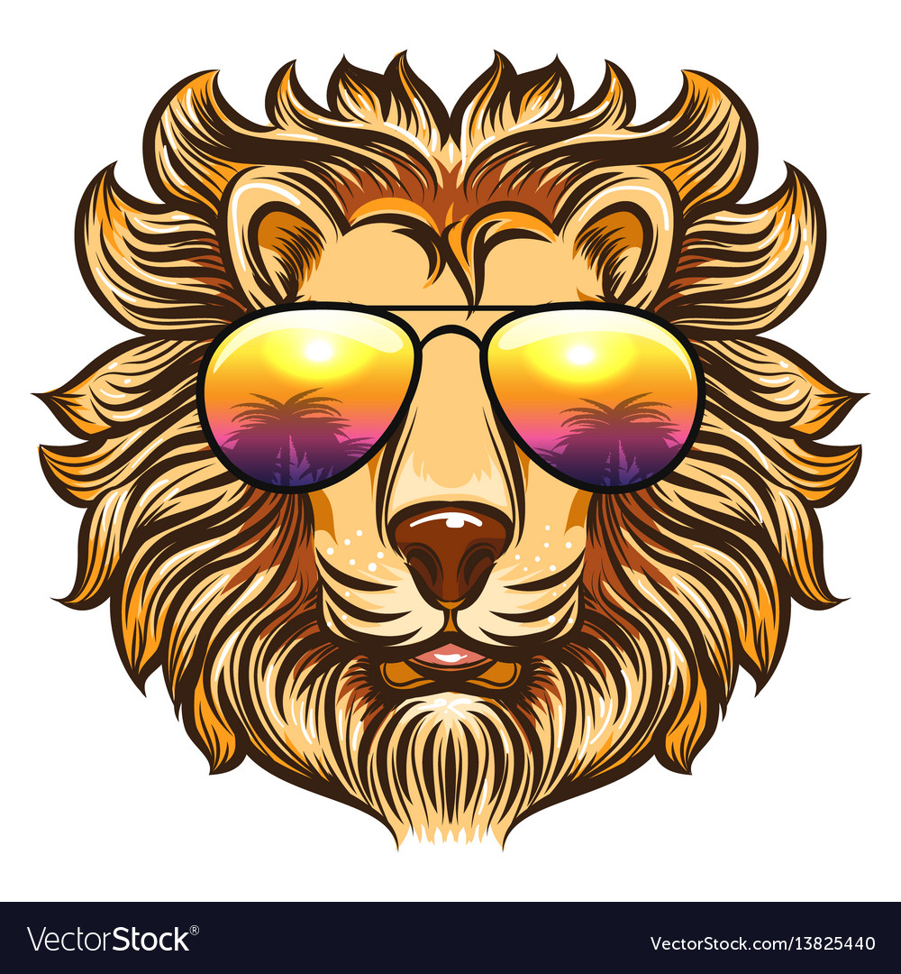 Lion in rainbow glasses