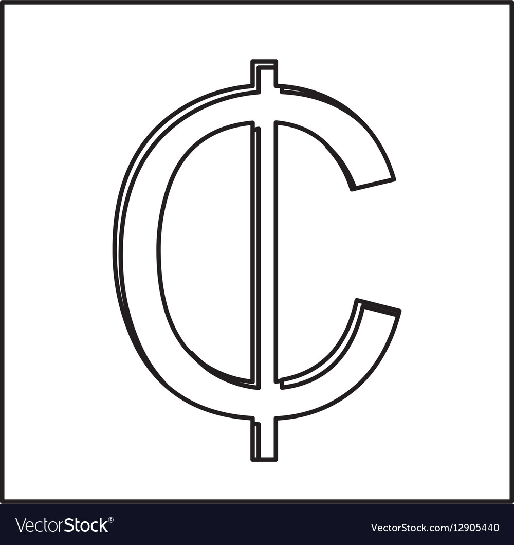 Monochrome Contour With Currency Symbol Of Cent In