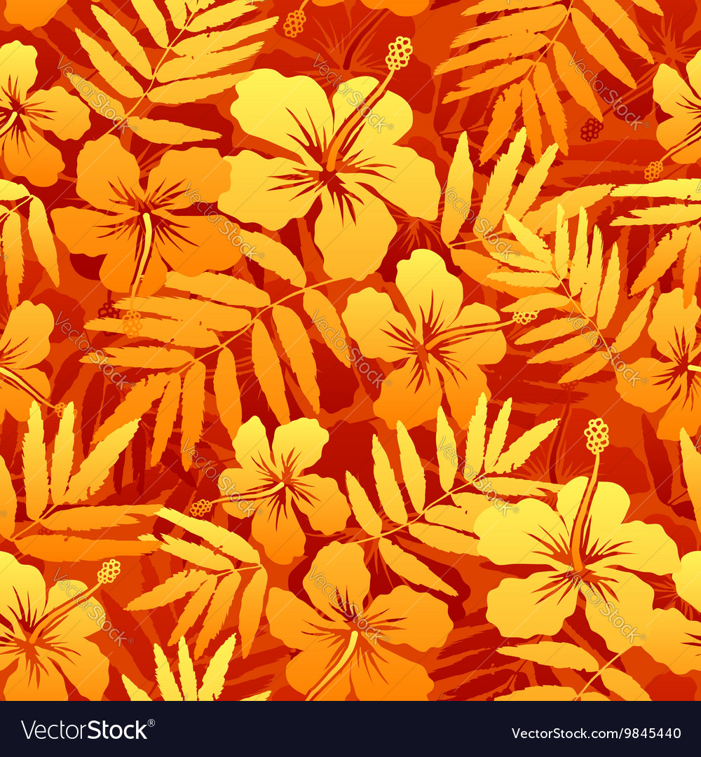 Orange Tropical Flowers Seamless Pattern Vector Image