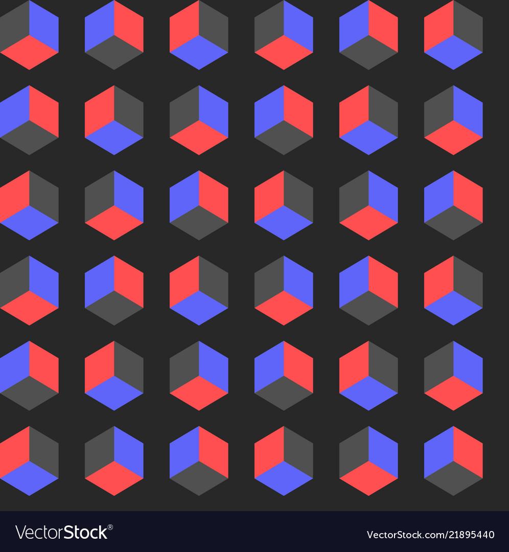 Seamless cube pattern gradient pop art