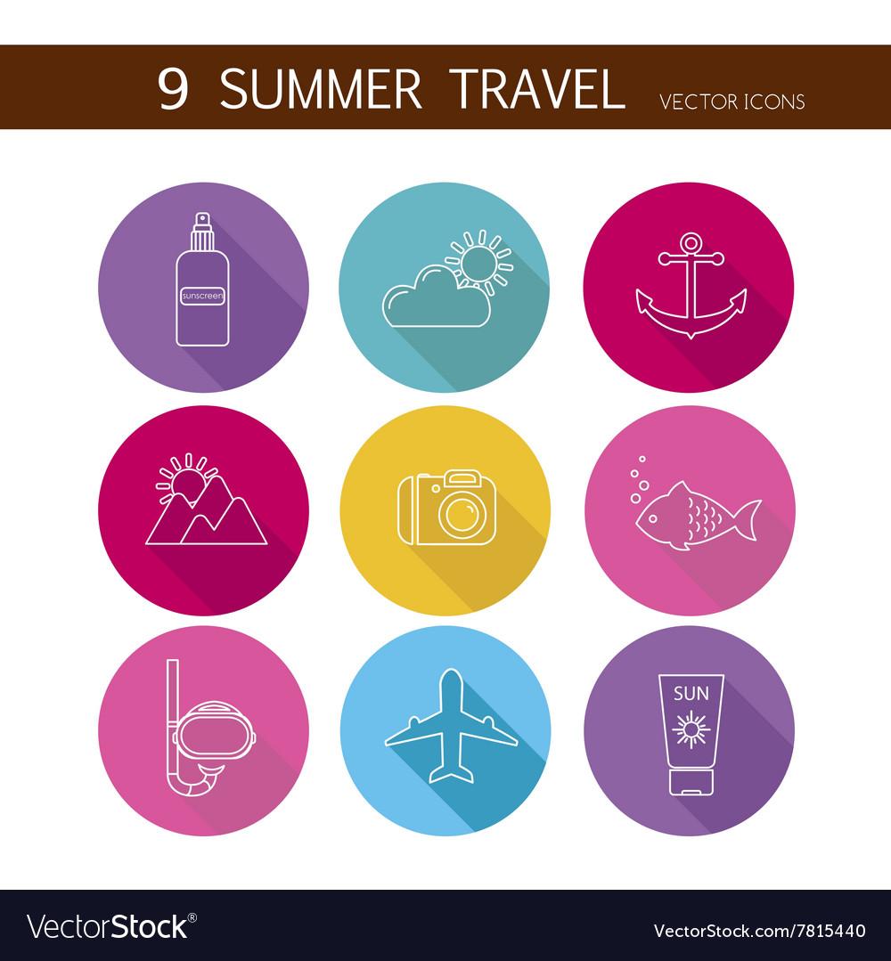 Summer travel icons set