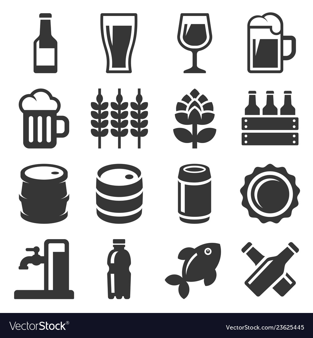 Beer icons set on white background