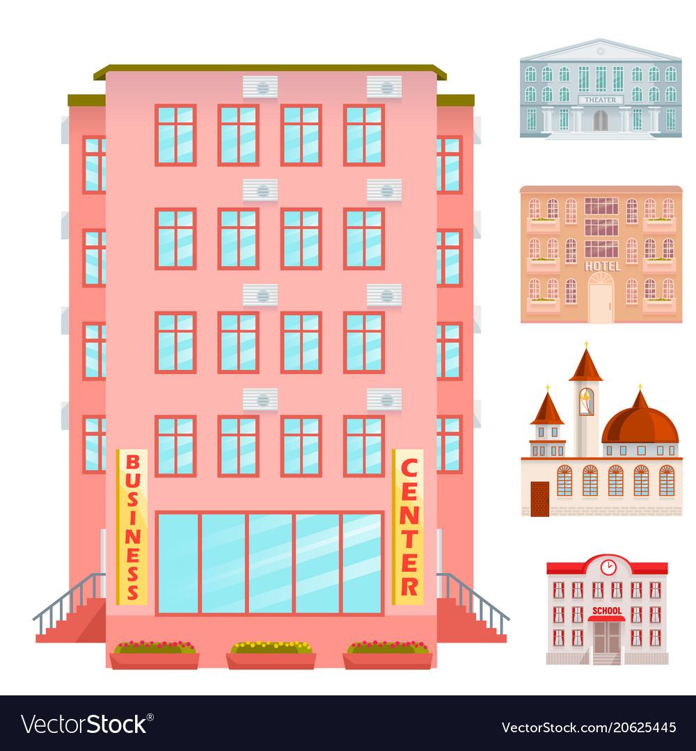 City Public Buildings Houses Flat Design Office Vector Image