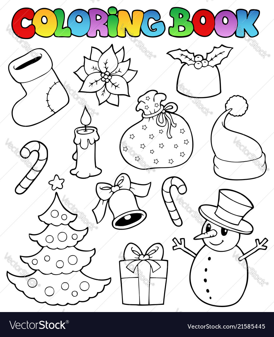 - Coloring Book Christmas Images 1 Royalty Free Vector Image
