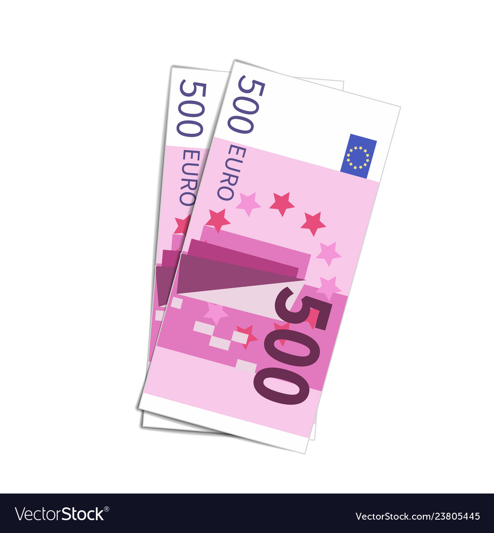 Couple of simple five hundred euro banknotes on