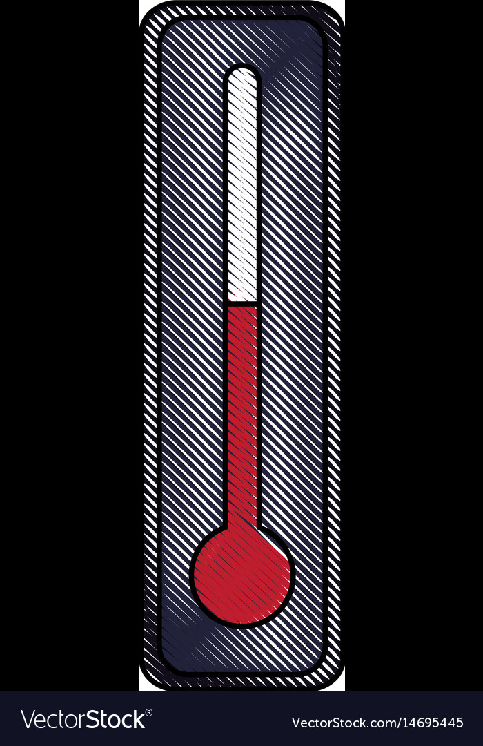 drawing thermometer temperature control degree vector image