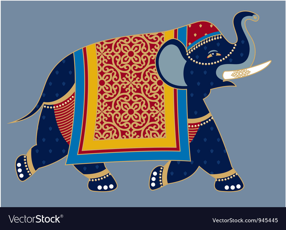 Indian Decorated Elephant vector image