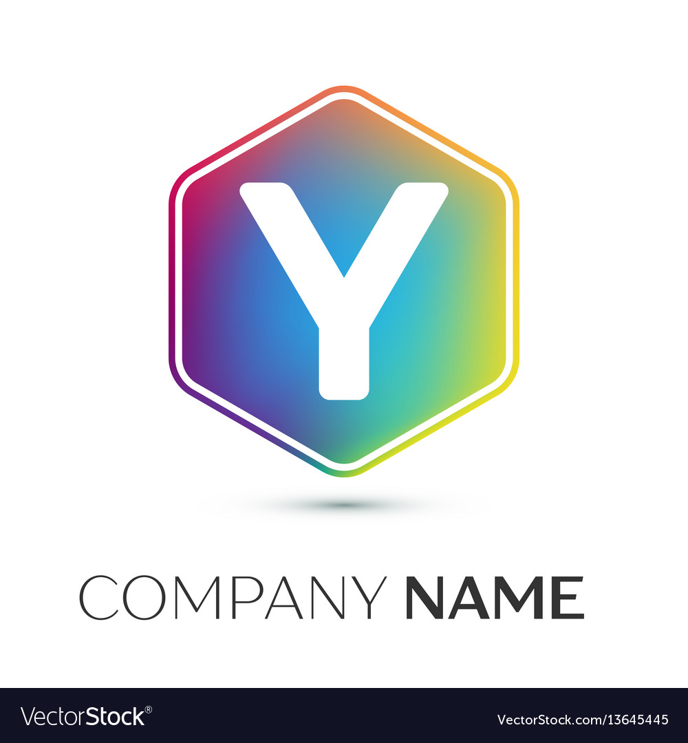 Letter y logo symbol in the colorful hexagonal on