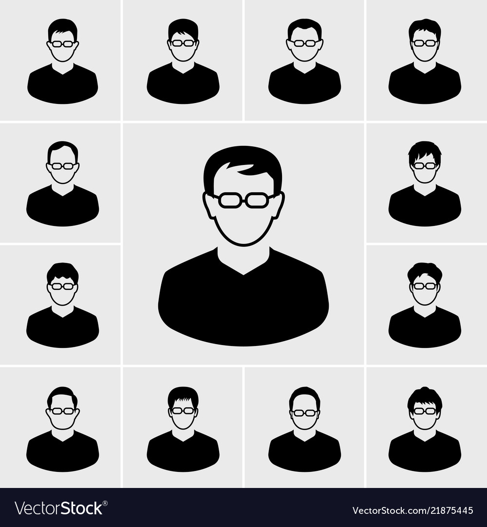 People and man icons set