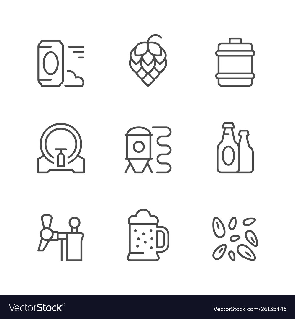 Set line icons brewery