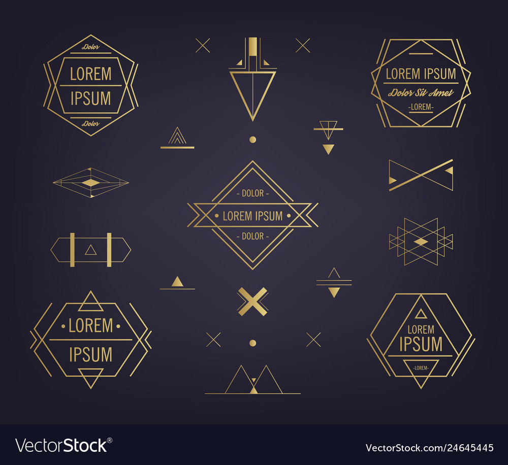 Set of abstract geometric logos mystical