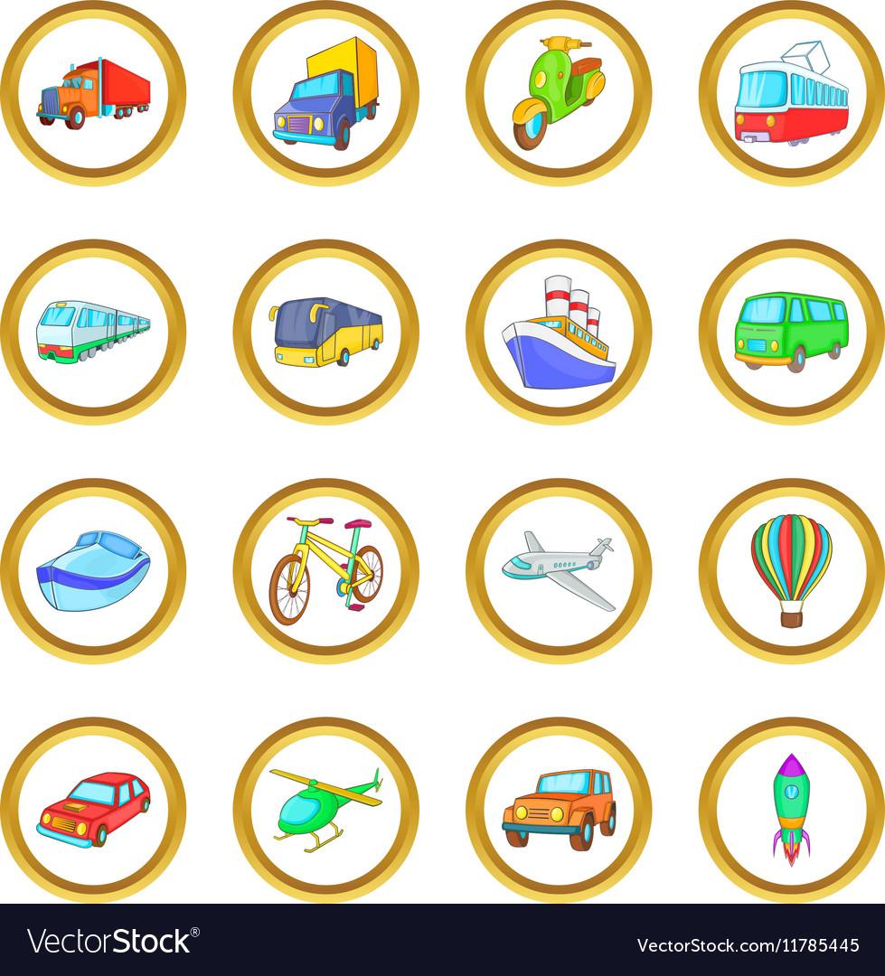 Transport set cartoon style