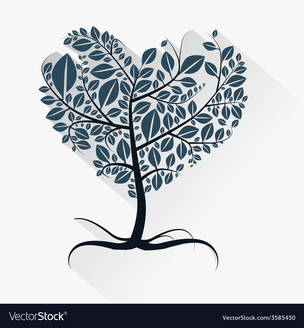 Abstract Heart Shaped Tree With Roots Royalty Free Vector