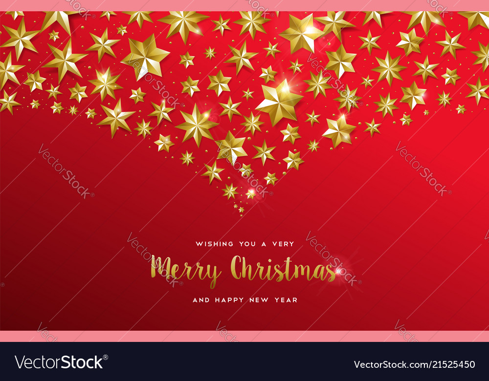 Christmas Card Design.Christmas Card Gold Star Design On Red Background