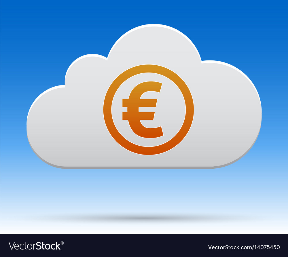 Euro money cloud with shadow on light background