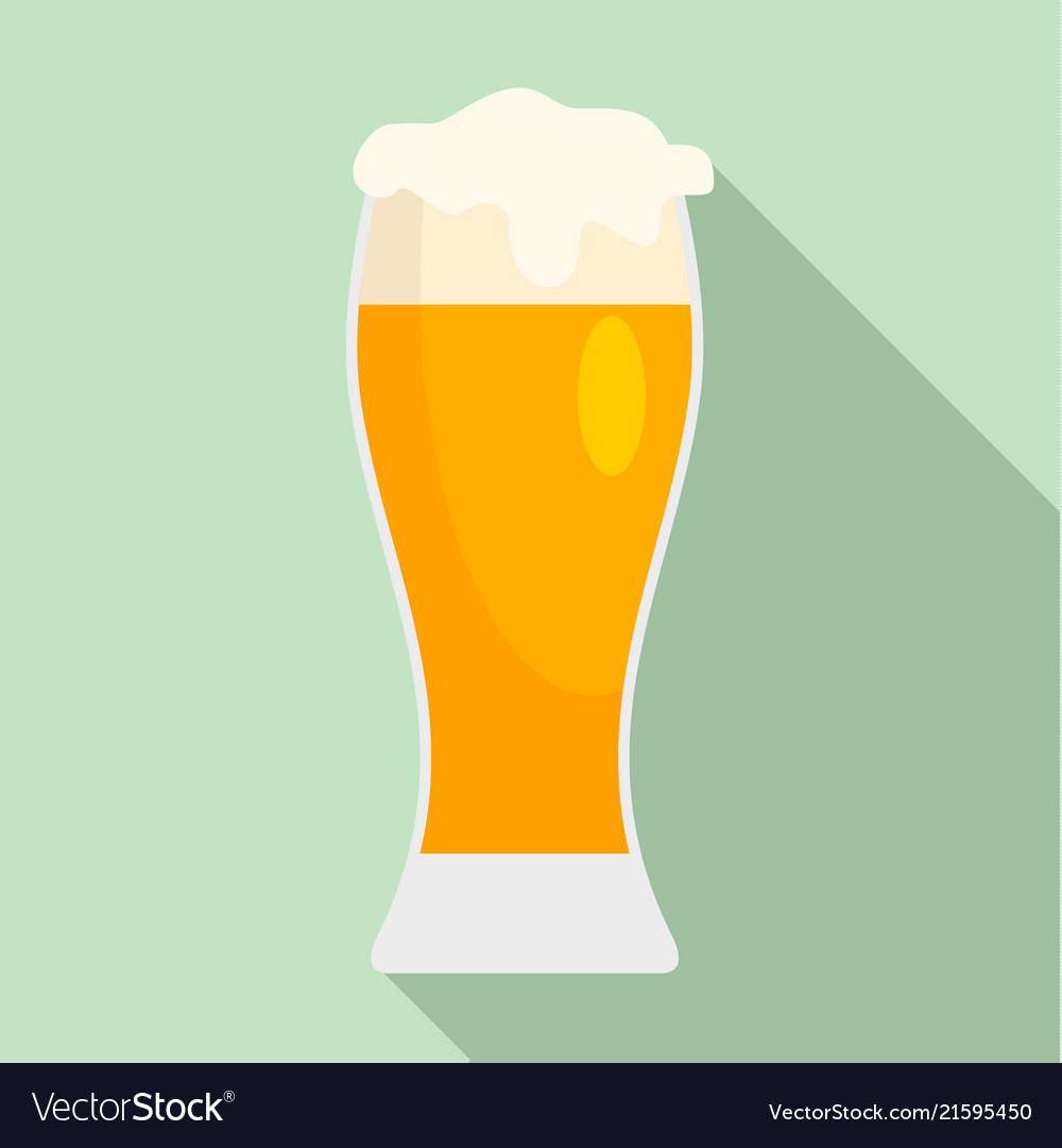 Glass of pub beer icon flat style