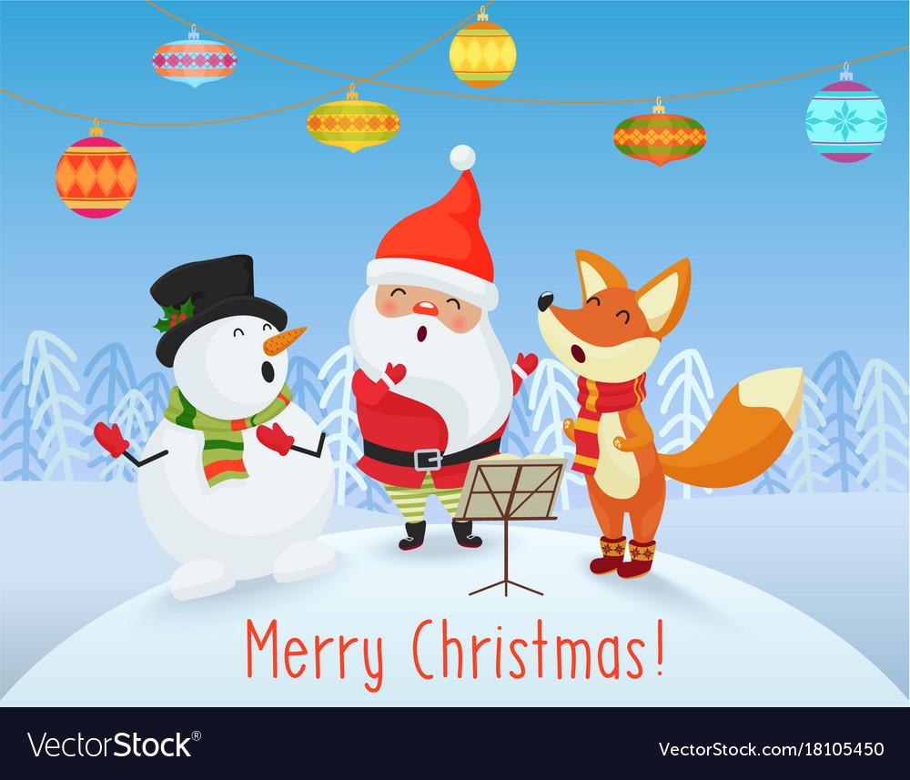 Happy christmas card with cute santa claus Vector Image