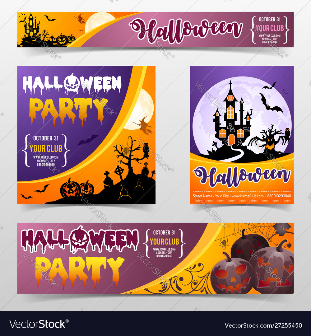Happy halloween scary festival poster banner