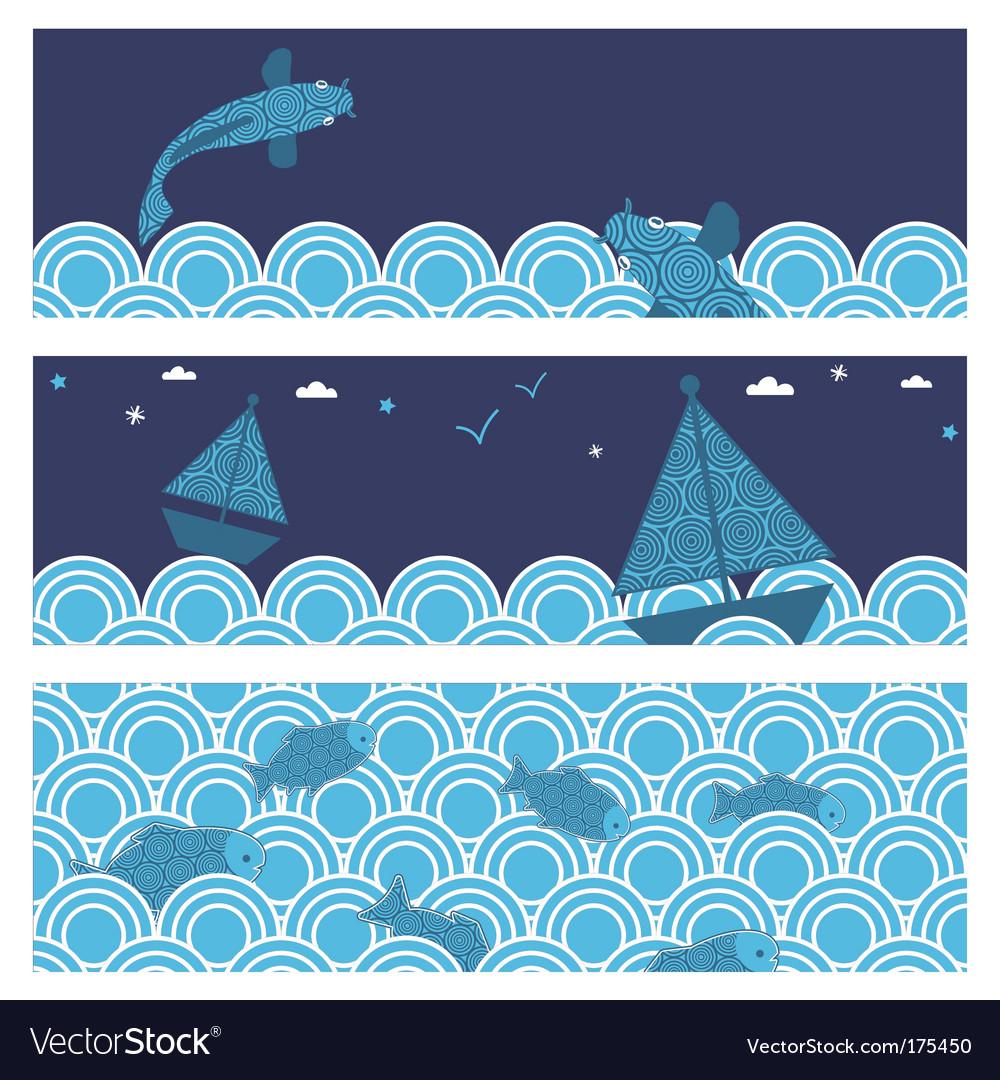 Ocean banners vector image
