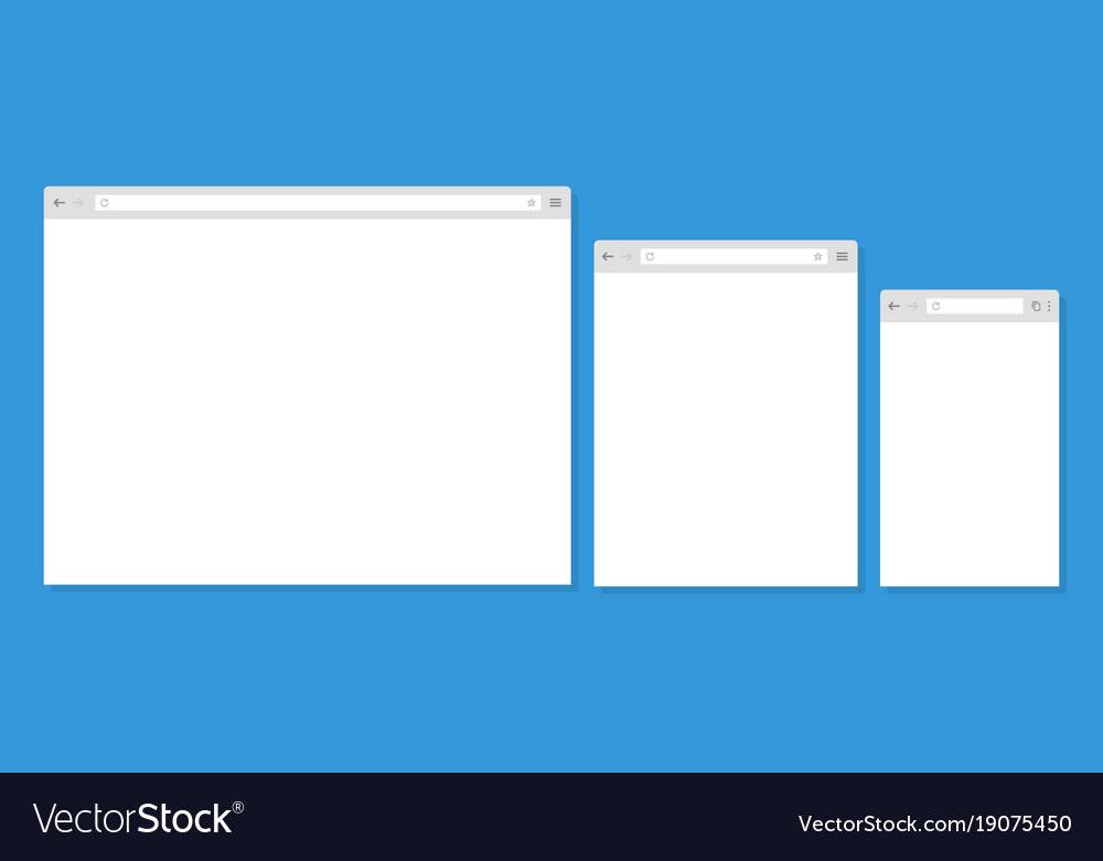 Open internet browser window in a flat style