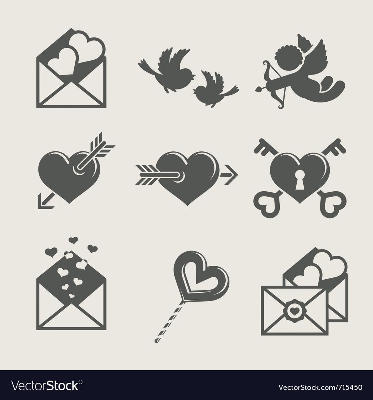 Saint valentines day set icon
