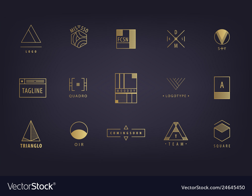 Set of abstract geometric logos forms