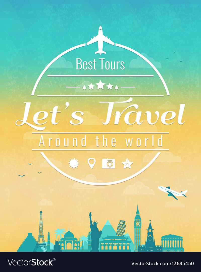 Travel composition with famous world landmarks and