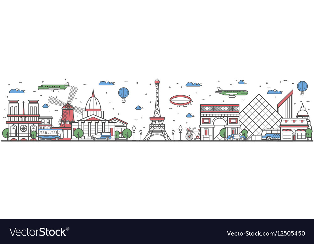 Travel in Paris city line flat design banner