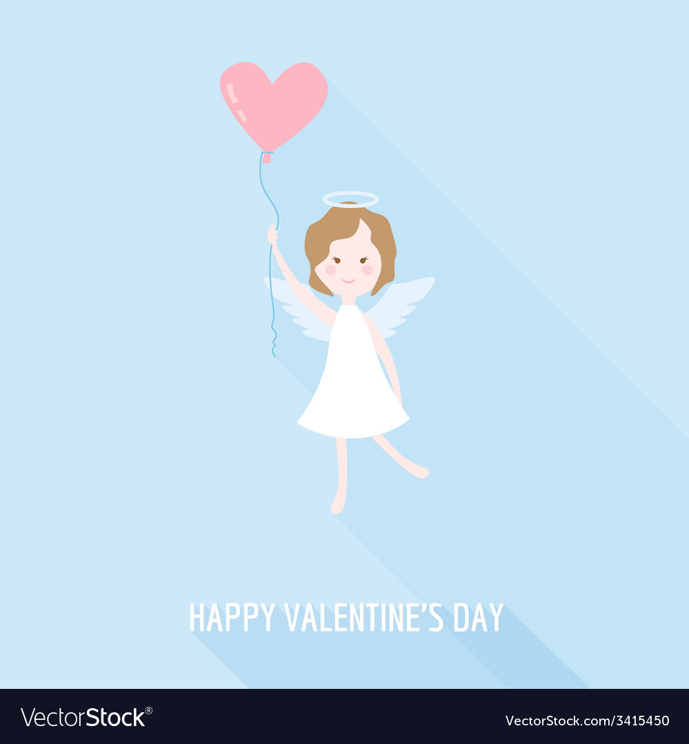 Valentines Day Card - Cupid Angel with Heart