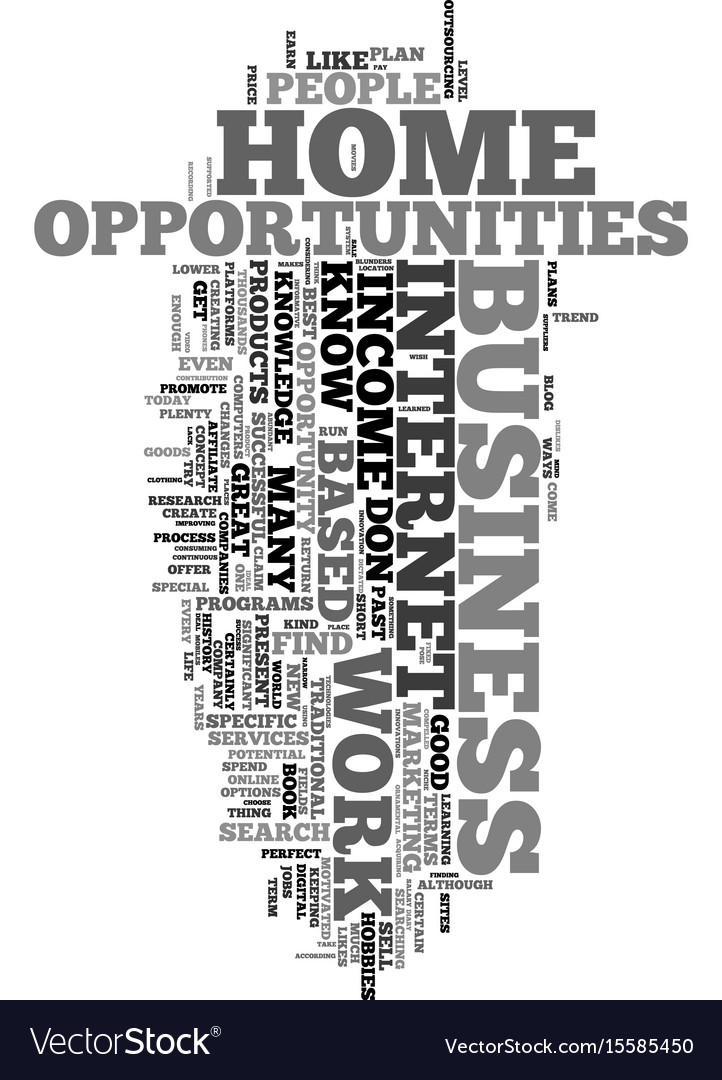 Work From Home Income Opportunities Text Word