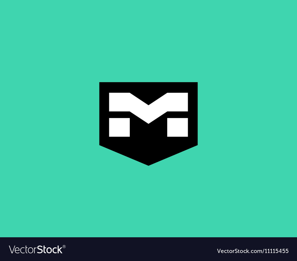 Abstract letter M shield logo design template vector image