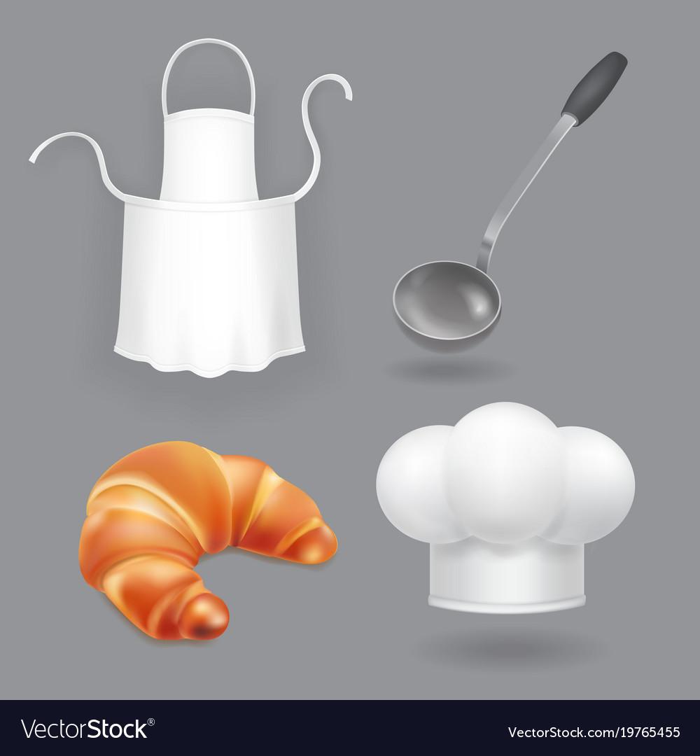 Chef hat kitchen apron ladle and bread