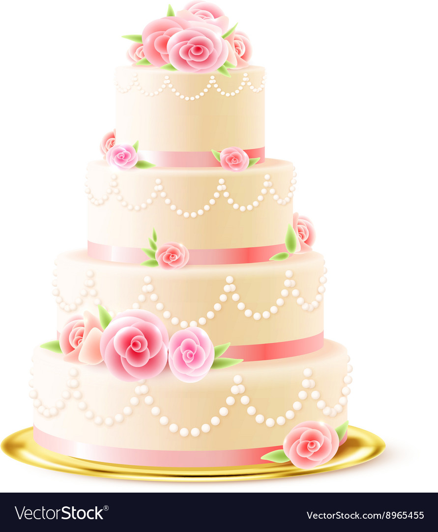 Classic Wedding Cake With Roses Realistic Vector Image