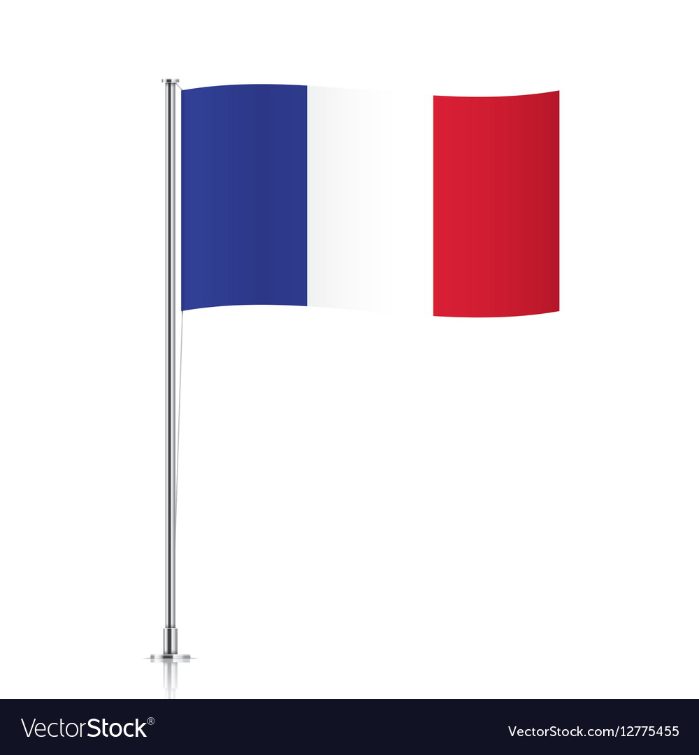 French flag waving on a metallic pole