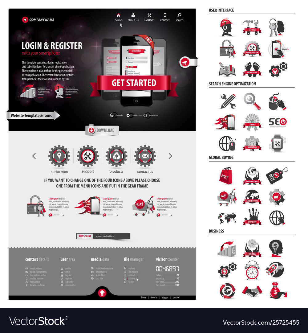 Full pack business website template and icons