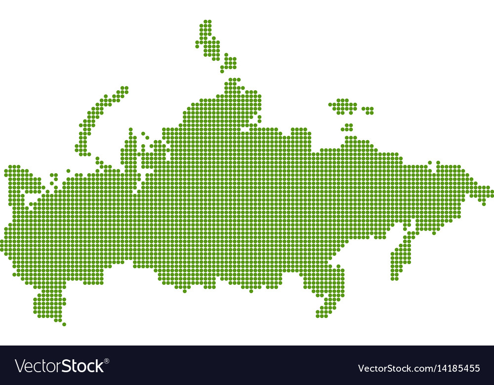 Green russia map dotted vector image