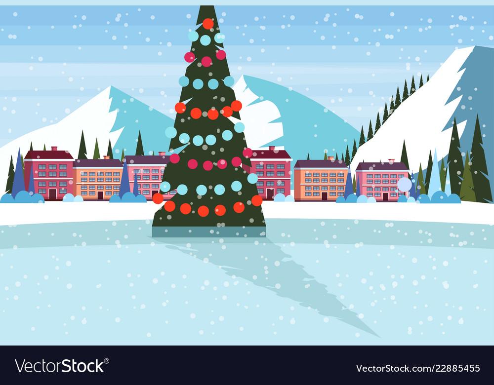 Christmas Ice Skating Rink Decoration.Ice Skating Rink Decorated Christmas Tree Ski